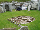 Helen tries out the bedroom at the Broch of Gurness